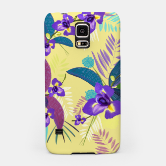 Thumbnail image of Iris flower purple tropical leaves pattern with yellow background Samsung Case, Live Heroes