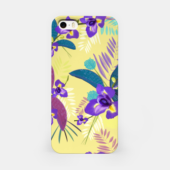 Thumbnail image of Iris flower purple tropical leaves pattern with yellow background iPhone Case, Live Heroes