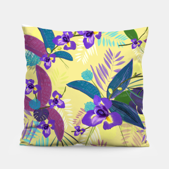 Thumbnail image of Iris flower purple tropical leaves pattern with yellow background Pillow, Live Heroes