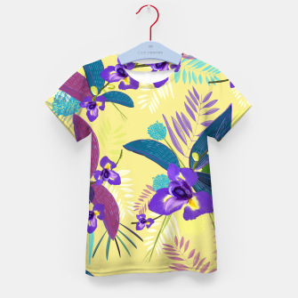 Thumbnail image of Iris flower purple tropical leaves pattern with yellow background Kid's t-shirt, Live Heroes