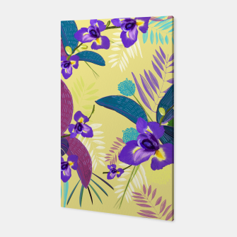 Thumbnail image of Iris flower purple tropical leaves pattern with yellow background Canvas, Live Heroes