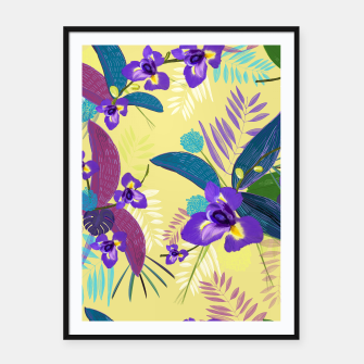 Thumbnail image of Iris flower purple tropical leaves pattern with yellow background Framed poster, Live Heroes