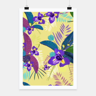 Thumbnail image of Iris flower purple tropical leaves pattern with yellow background Poster, Live Heroes