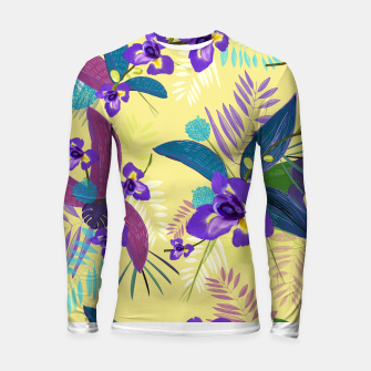Thumbnail image of Iris flower purple tropical leaves pattern with yellow background Longsleeve rashguard , Live Heroes