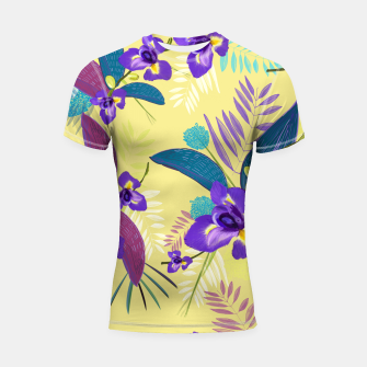 Thumbnail image of Iris flower purple tropical leaves pattern with yellow background Shortsleeve rashguard, Live Heroes