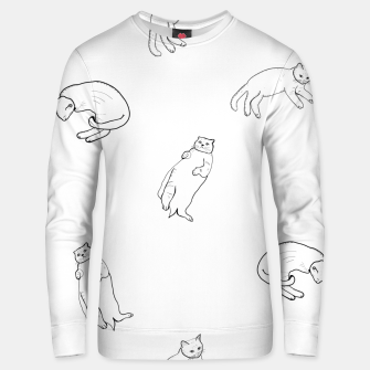 Thumbnail image of Hand drawn seamless pattern with cats monochrome pattern Unisex sweater, Live Heroes