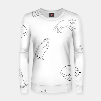 Thumbnail image of Hand drawn seamless pattern with cats monochrome pattern Women sweater, Live Heroes