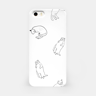 Thumbnail image of Hand drawn seamless pattern with cats monochrome pattern iPhone Case, Live Heroes