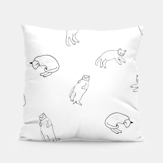 Thumbnail image of Hand drawn seamless pattern with cats monochrome pattern Pillow, Live Heroes