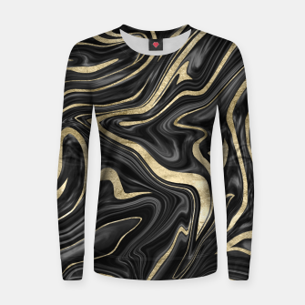 Thumbnail image of Black Gray White Gold Marble #1 #decor #art  Frauen sweatshirt, Live Heroes