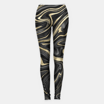 Thumbnail image of Black Gray White Gold Marble #1 #decor #art  Leggings, Live Heroes