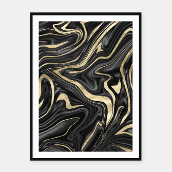 Thumbnail image of Black Gray White Gold Marble #1 #decor #art  Plakat mit rahmen, Live Heroes