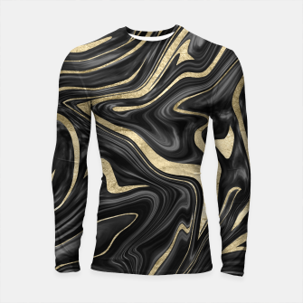Thumbnail image of Black Gray White Gold Marble #1 #decor #art  Longsleeve rashguard, Live Heroes