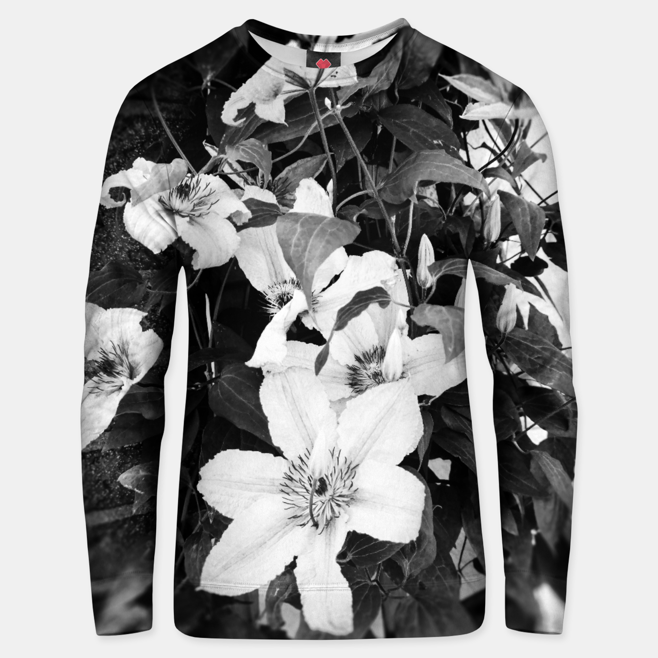 Image of clematis 2 bw Unisex sweater - Live Heroes