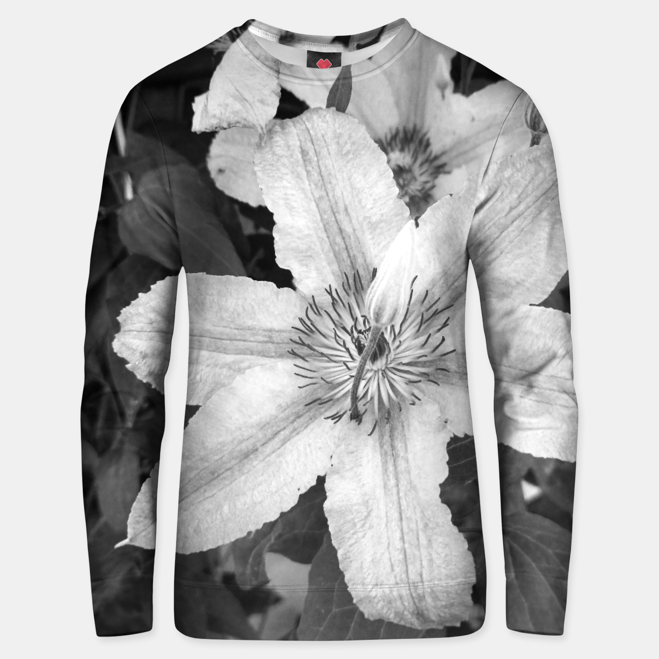 Image of clematis 1 bw Unisex sweater - Live Heroes