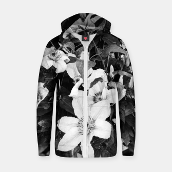 Thumbnail image of clematis 2 bw Zip up hoodie, Live Heroes