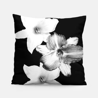 Thumbnail image of White Lilies on Black #1 #floral #decor #art Kissen, Live Heroes