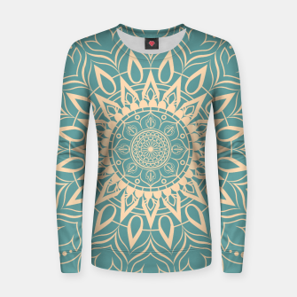 Thumbnail image of Turquoise and Yellow Mandala III Women sweater, Live Heroes