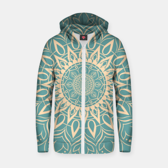 Thumbnail image of Turquoise and Yellow Mandala III Zip up hoodie, Live Heroes