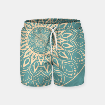 Thumbnail image of Turquoise and Yellow Mandala III Swim Shorts, Live Heroes