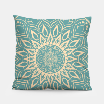 Thumbnail image of Turquoise and Yellow Mandala III Pillow, Live Heroes