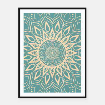 Thumbnail image of Turquoise and Yellow Mandala III Framed poster, Live Heroes
