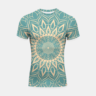 Thumbnail image of Turquoise and Yellow Mandala III Shortsleeve rashguard, Live Heroes