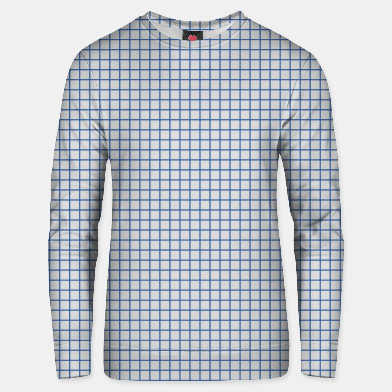 Image of Blue grid pattern on ice grey Unisex sweater - Live Heroes