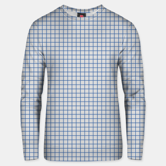 Thumbnail image of Blue grid pattern on ice grey Unisex sweater, Live Heroes