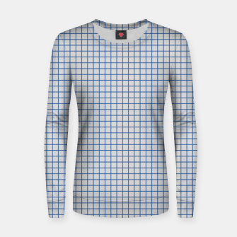Thumbnail image of Blue grid pattern on ice grey Women sweater, Live Heroes