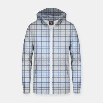 Thumbnail image of Blue grid pattern on ice grey Zip up hoodie, Live Heroes