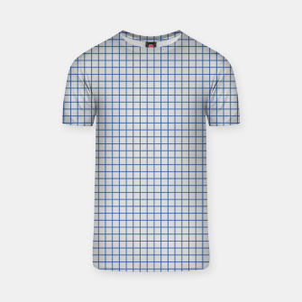 Thumbnail image of Blue grid pattern on ice grey T-shirt, Live Heroes
