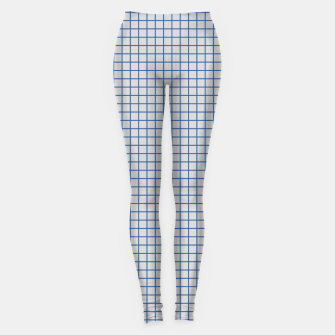 Thumbnail image of Blue grid pattern on ice grey Leggings, Live Heroes