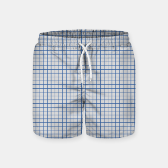 Thumbnail image of Blue grid pattern on ice grey Swim Shorts, Live Heroes