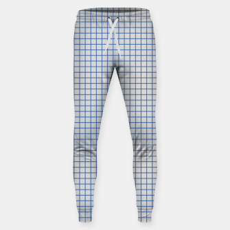 Thumbnail image of Blue grid pattern on ice grey Sweatpants, Live Heroes