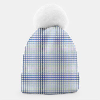 Thumbnail image of Blue grid pattern on ice grey Beanie, Live Heroes