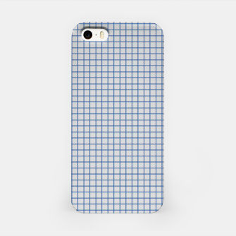 Thumbnail image of Blue grid pattern on ice grey iPhone Case, Live Heroes