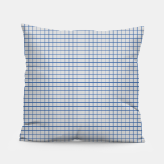 Thumbnail image of Blue grid pattern on ice grey Pillow, Live Heroes