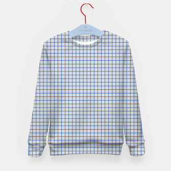 Thumbnail image of Blue grid pattern on ice grey Kid's sweater, Live Heroes