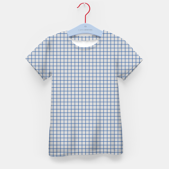 Thumbnail image of Blue grid pattern on ice grey Kid's t-shirt, Live Heroes