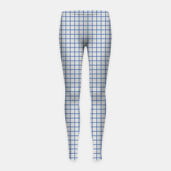 Thumbnail image of Blue grid pattern on ice grey Girl's leggings, Live Heroes