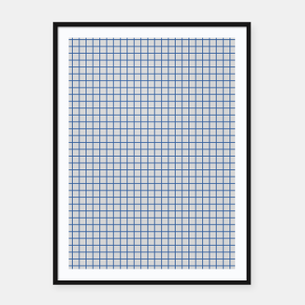 Thumbnail image of Blue grid pattern on ice grey Framed poster, Live Heroes