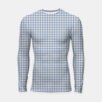Thumbnail image of Blue grid pattern on ice grey Longsleeve rashguard , Live Heroes