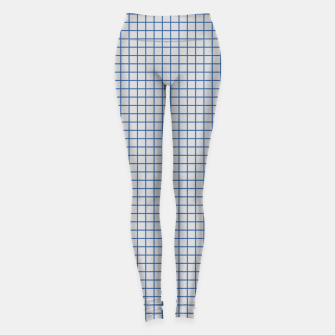 Miniaturka Blue grid pattern on ice grey Leggings, Live Heroes