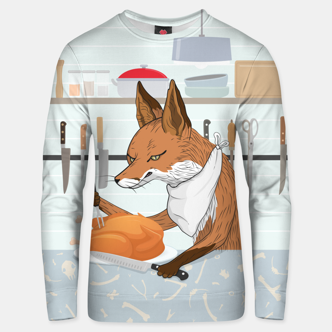 Image of Hearty Dinner Time in Fox's Kitchen Unisex sweater - Live Heroes