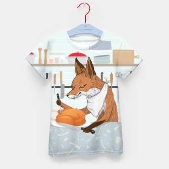 Hearty Dinner Time in Fox's Kitchen Kid's t-shirt thumbnail image
