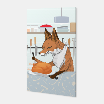 Hearty Dinner Time in Fox's Kitchen Canvas thumbnail image