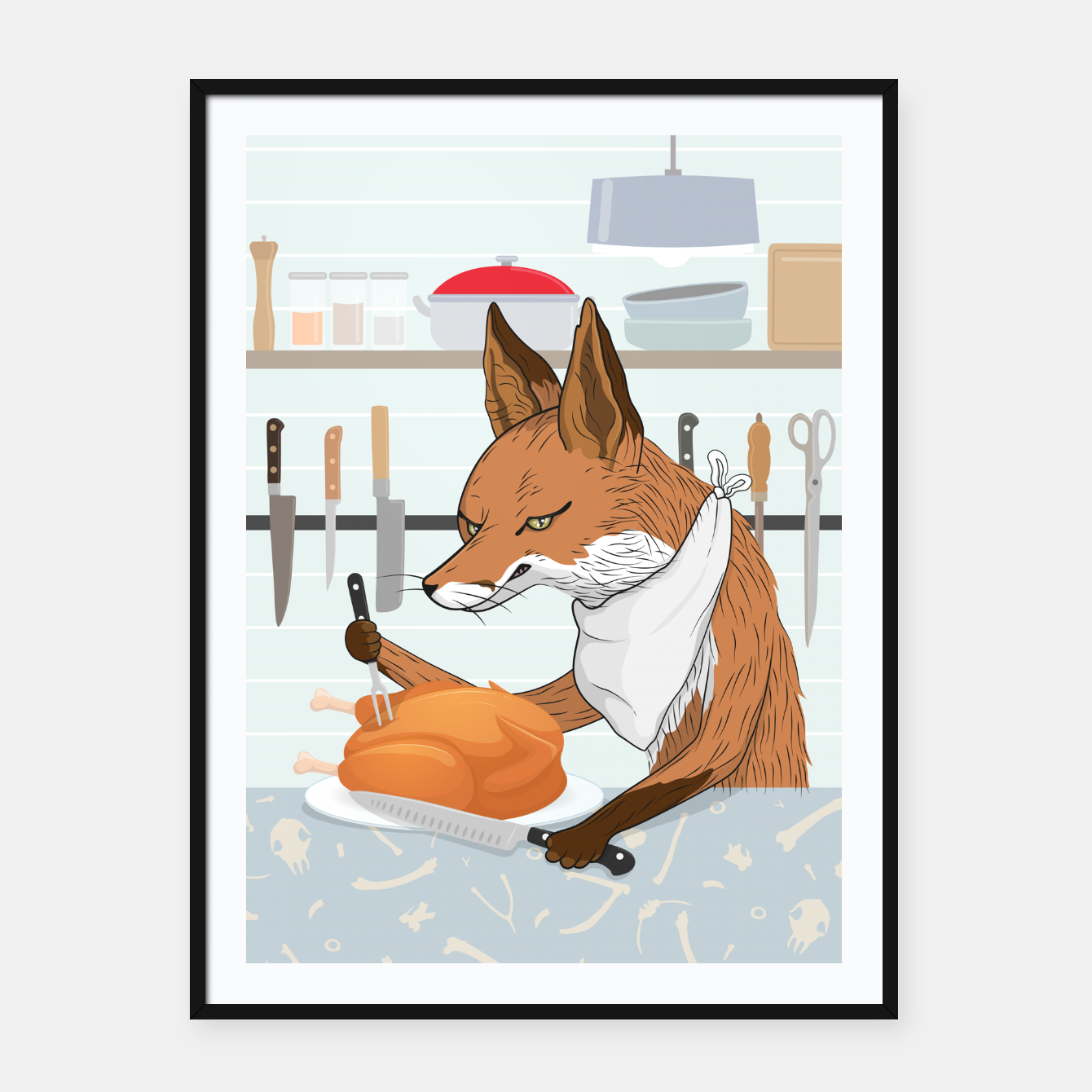Foto Hearty Dinner Time in Fox's Kitchen Framed poster - Live Heroes