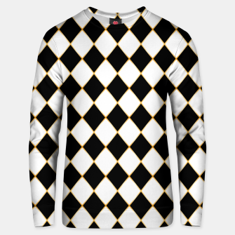 Thumbnail image of Chess board pattern with gold lines. Unisex sweater, Live Heroes