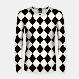 Thumbnail image of Chess board pattern with gold lines. Women sweater, Live Heroes